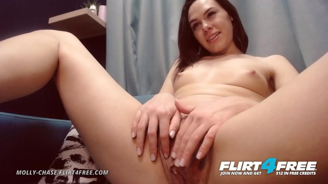 Flirt4Free - Molly Chase - Babe with Small Tits Works Over Her Tight Pussy