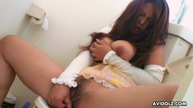 Japanese brunette with big tits  Airi Ai is masturbating  uncensored