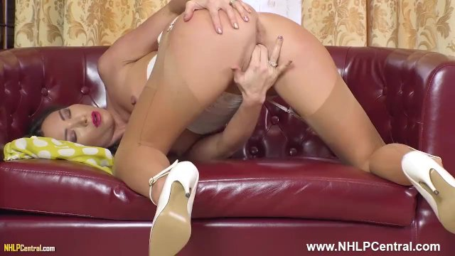 Hot blonde Natalia Forrest fingering tight pussy in vintage girdle nylons
