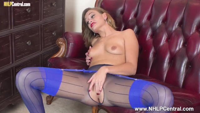 Kinky brunette Honour May poses with pussy play to orgasm in sexy pantyhose