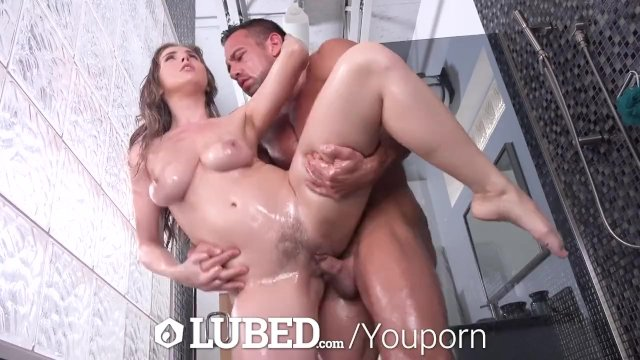 LUBED Big dick soapy shower FUCK with overflowing mouthful