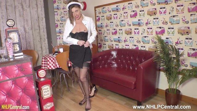 Sexy French Waitress Chloe masturbates ala carte in retro basque and nylons