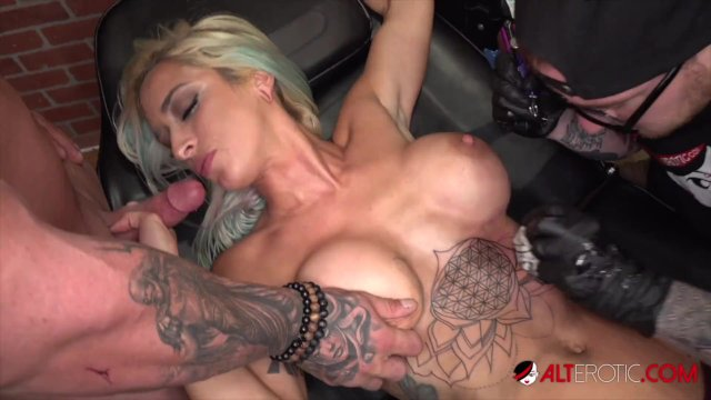 Busty blonde Vanessa Sky gets tattooed then fucked