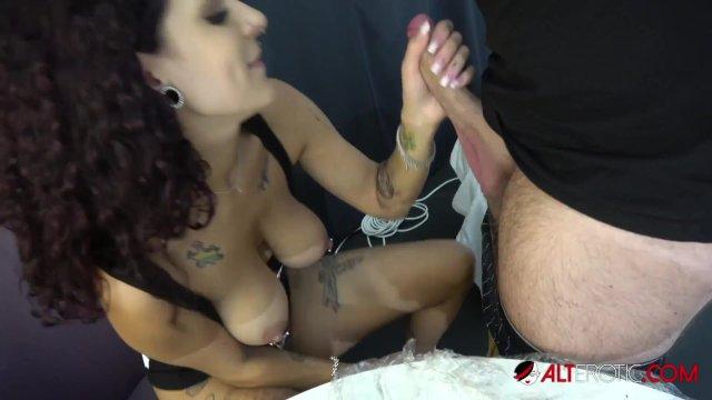 Big tit babe Mara Martinez gets tattooed then fucked