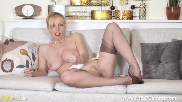 Dirty blonde Milf Lucy Gresty fingering hard in stockings and stilettos
