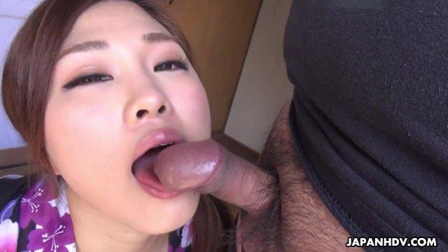 Japanese wife  Maki Horiguchi sucks dick  uncensored