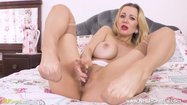 Pantyless in nylons garters huge tits blonde Milf Lucy Alexandra fucks toy