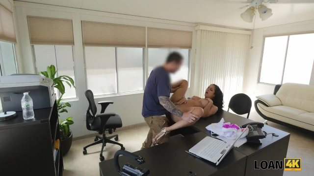LOAN4K. Girl cant pay rent but she can seduce loan agent in office