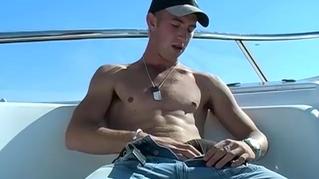Young jock Matt H masturbates his huge dick outdoor and cums