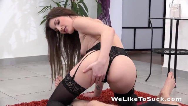 Stunning Zena In Black Lingerie Sucks Hard