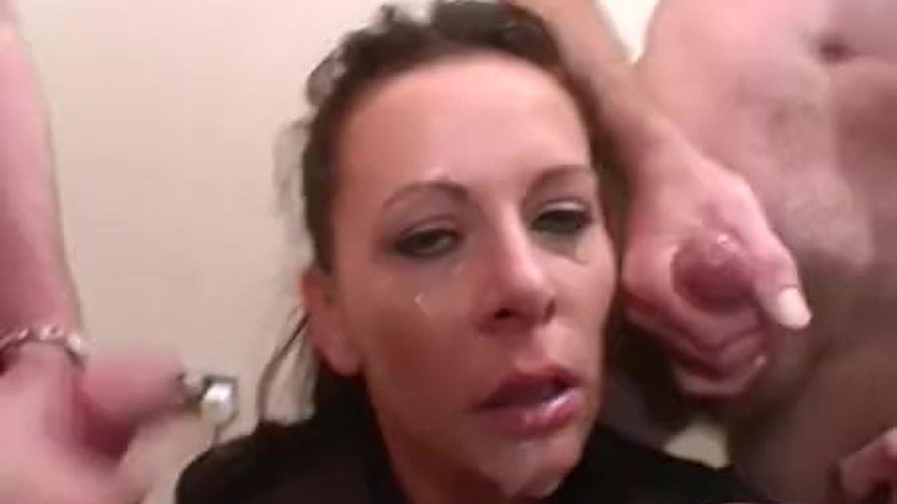 Carly sucks on big cocks and takes bukkake
