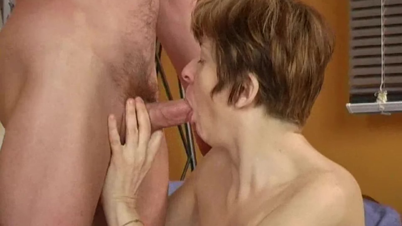 Long nippled granny sucks cock