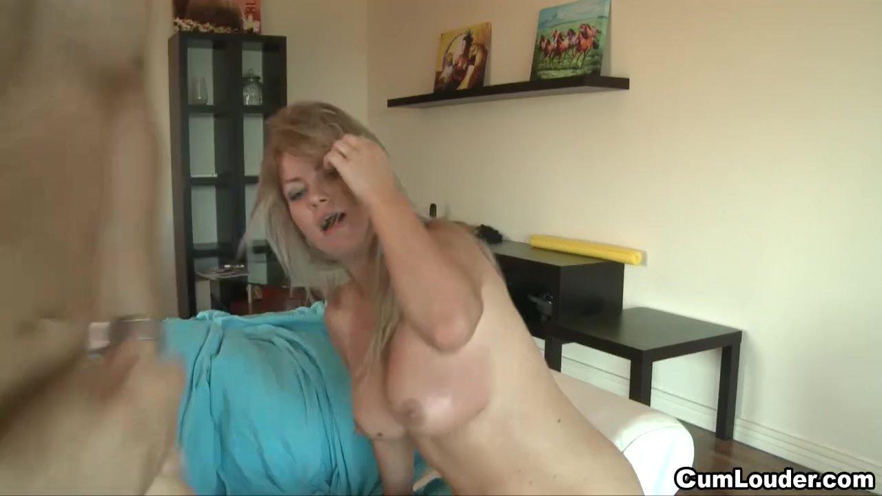 Nasty Blonde swallows a big Load of Jizz