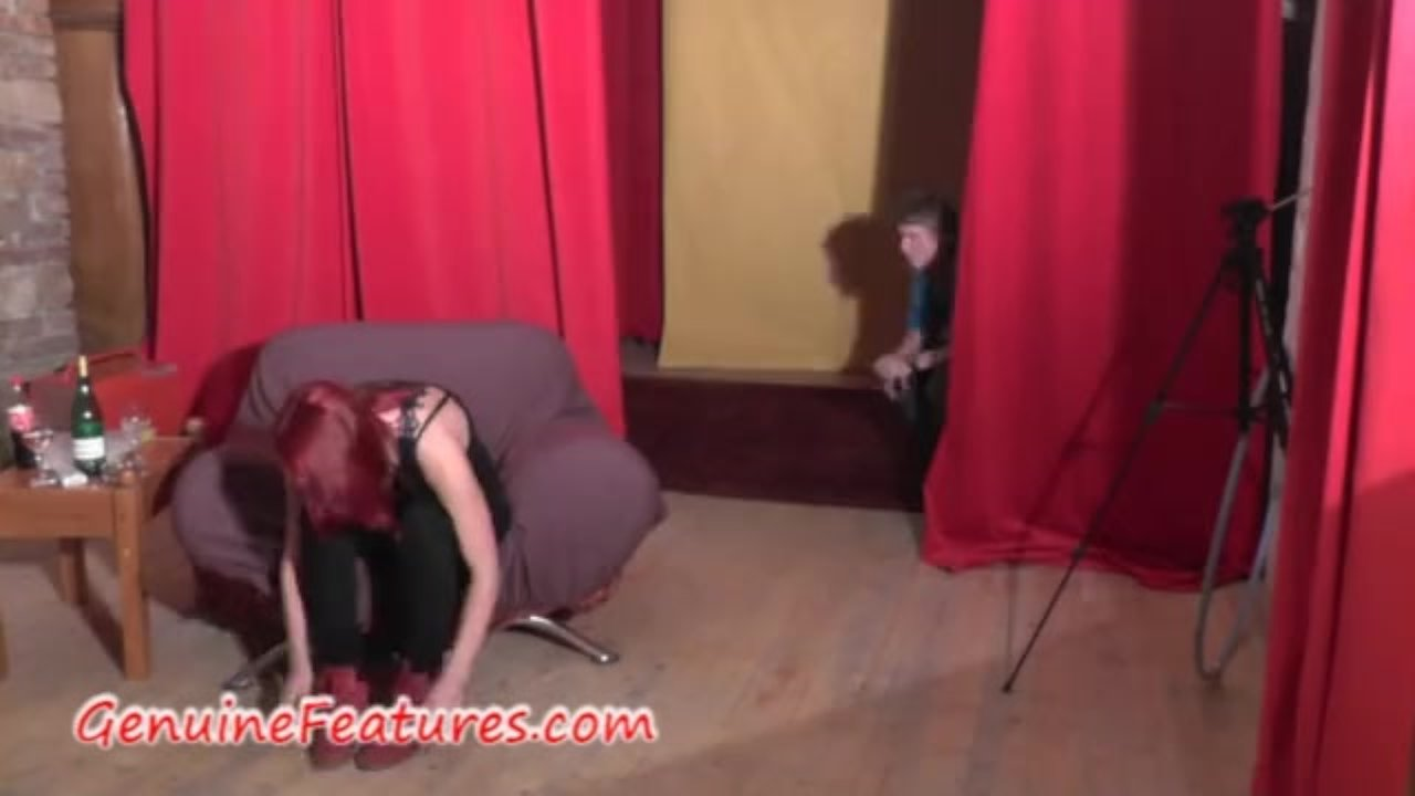 Czech redhead has fun in backstage