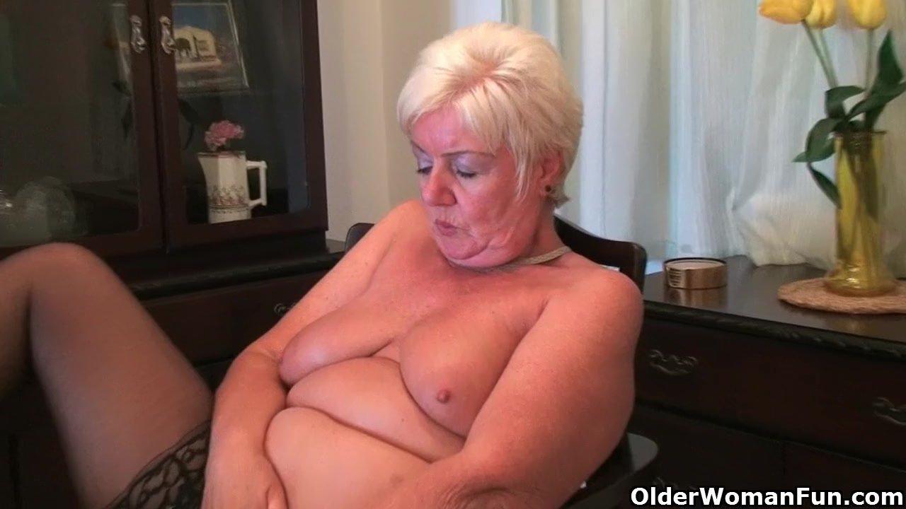 British grannies love solo sex in stockings