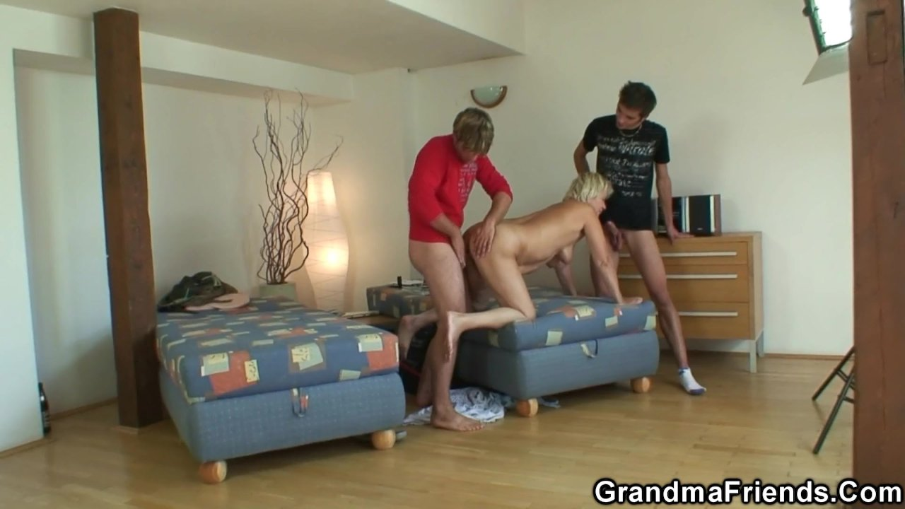 Cleaning woman takes two cocks