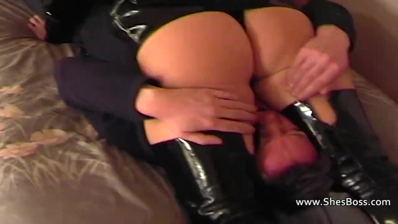 PVC clad dommes punish a guy