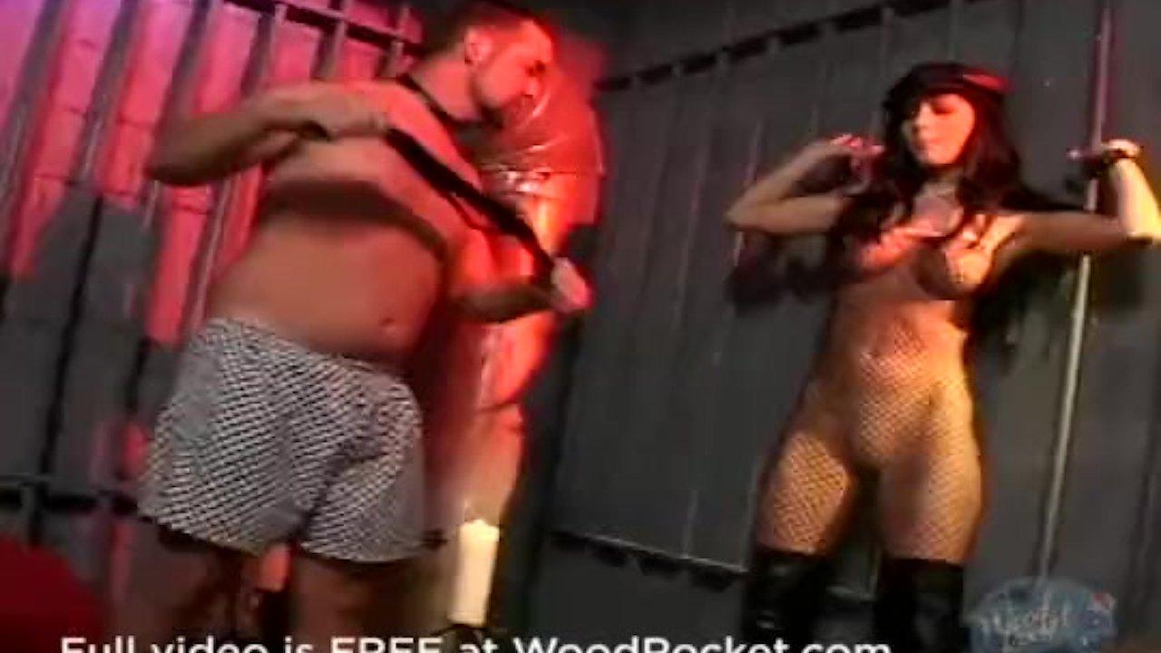 Kinky girl in fishnets whips her boytoy