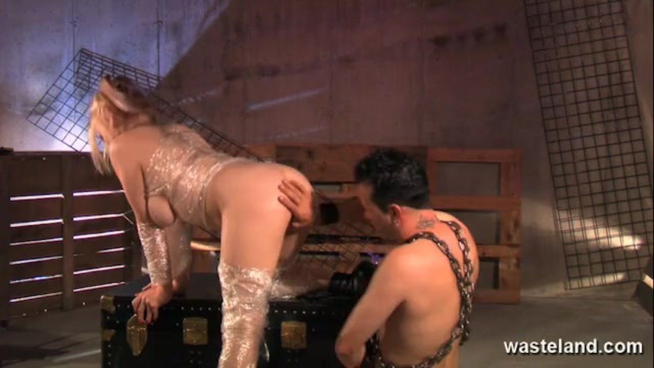 Blonde is wrapped in cling film and fucked