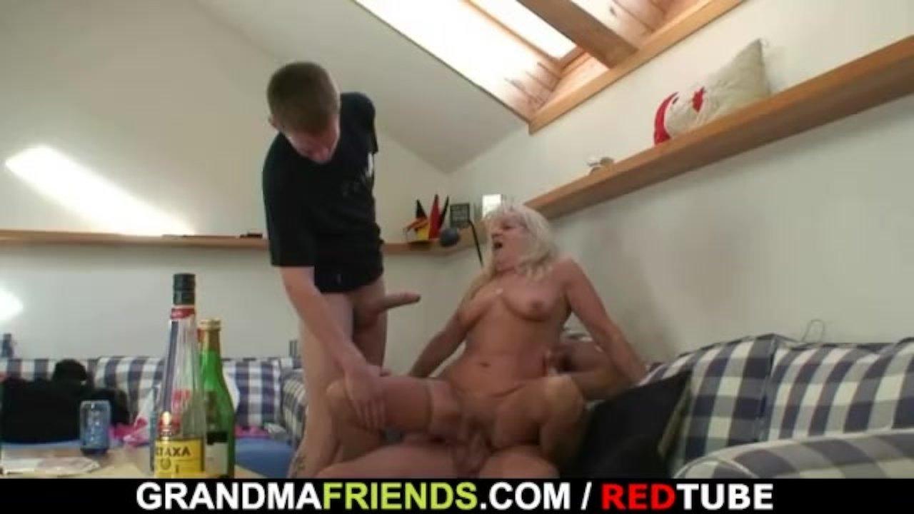 Boozed old grandma sucks and rides two cocks