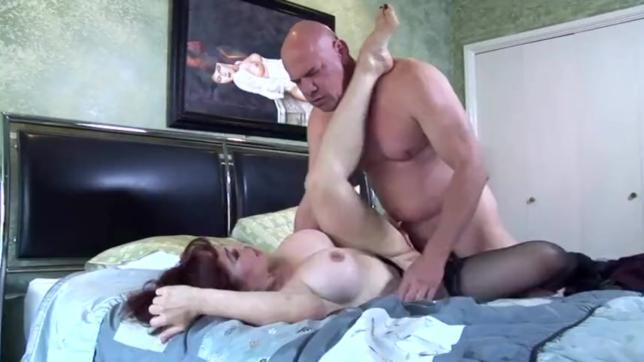 Pretty redhead milf fucked in thigh highs