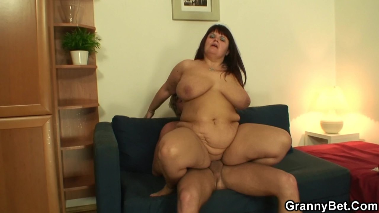 Busty old women jumps on his hard cock