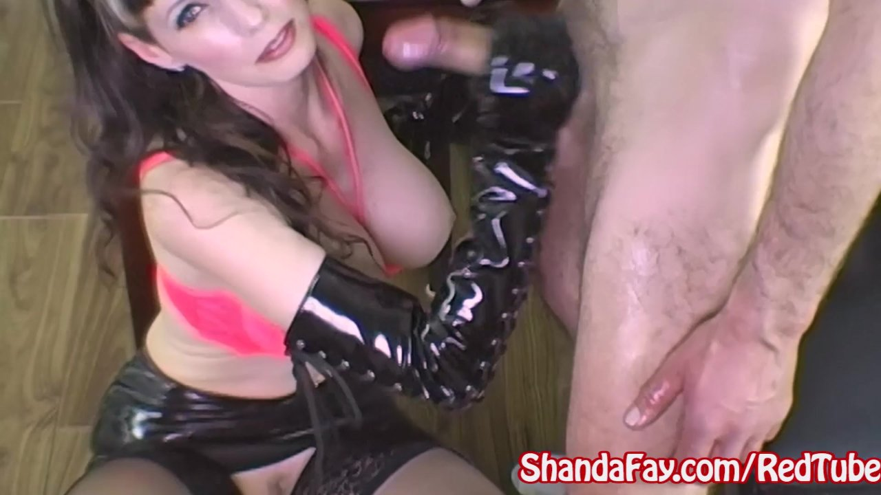 Shanda Fay Jerks Off Hard Cock with Gloves!