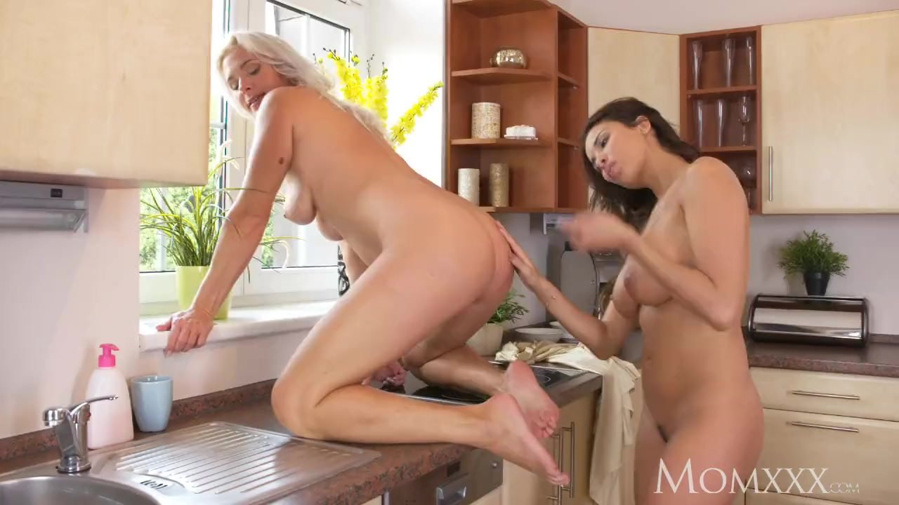Amazing Big Pussy mom amazing big tits milfs munching on lovely wet pussies in the kitchen