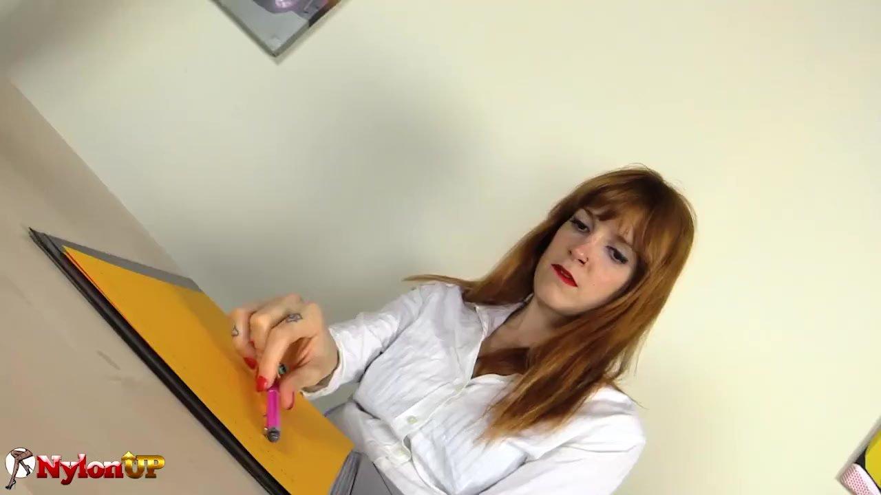Redhead Secretary Irina Vega in Pantyhose masturbates with a Magic Wand |  Redtube Free HD Porn