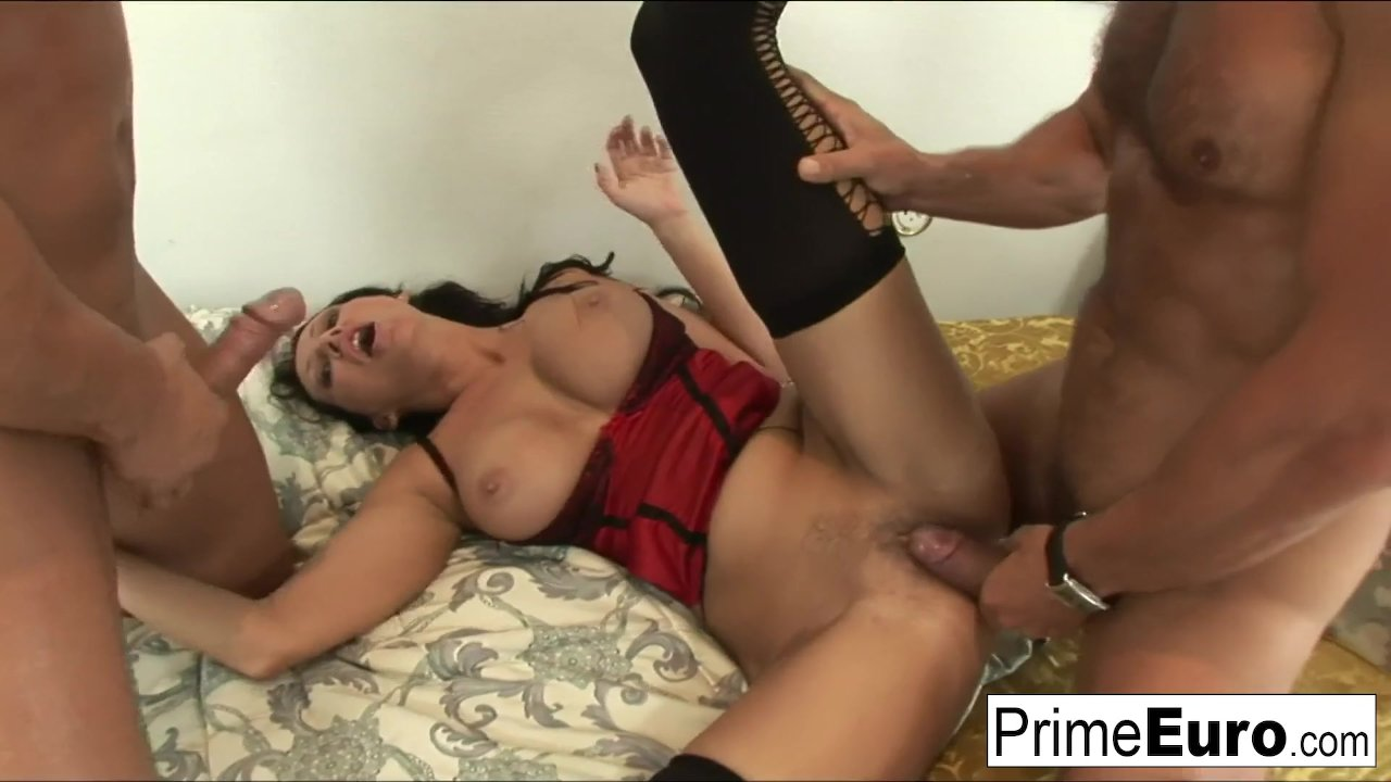 Busty Mandy Bright wants two cocks in her wet pussy