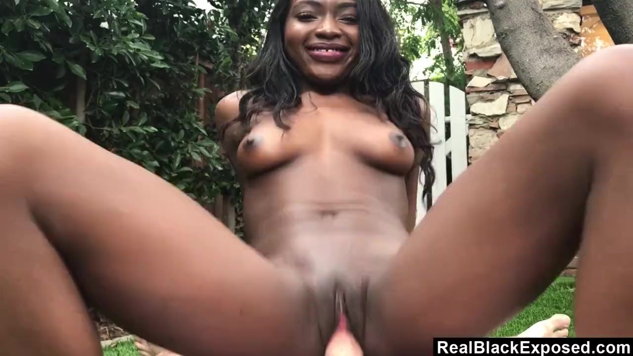 POV Ebony strips and fuck outdoors