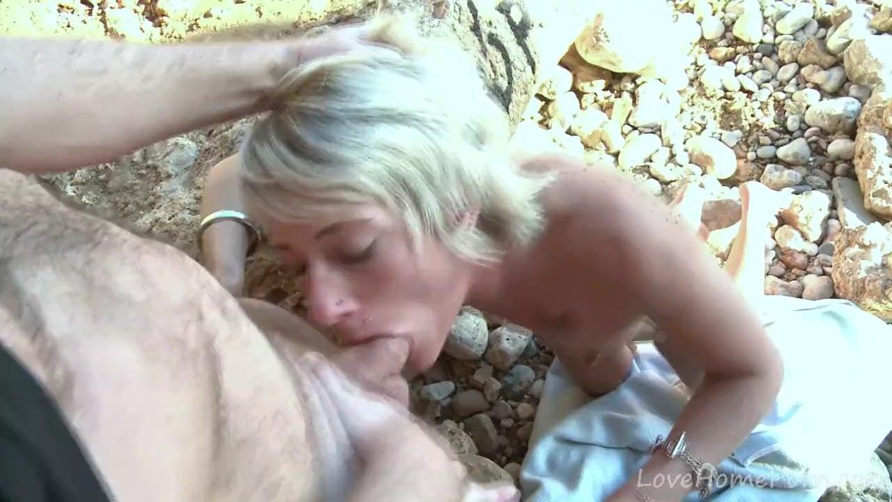 Slim Blonde Chokes On Hard Cock At Beach