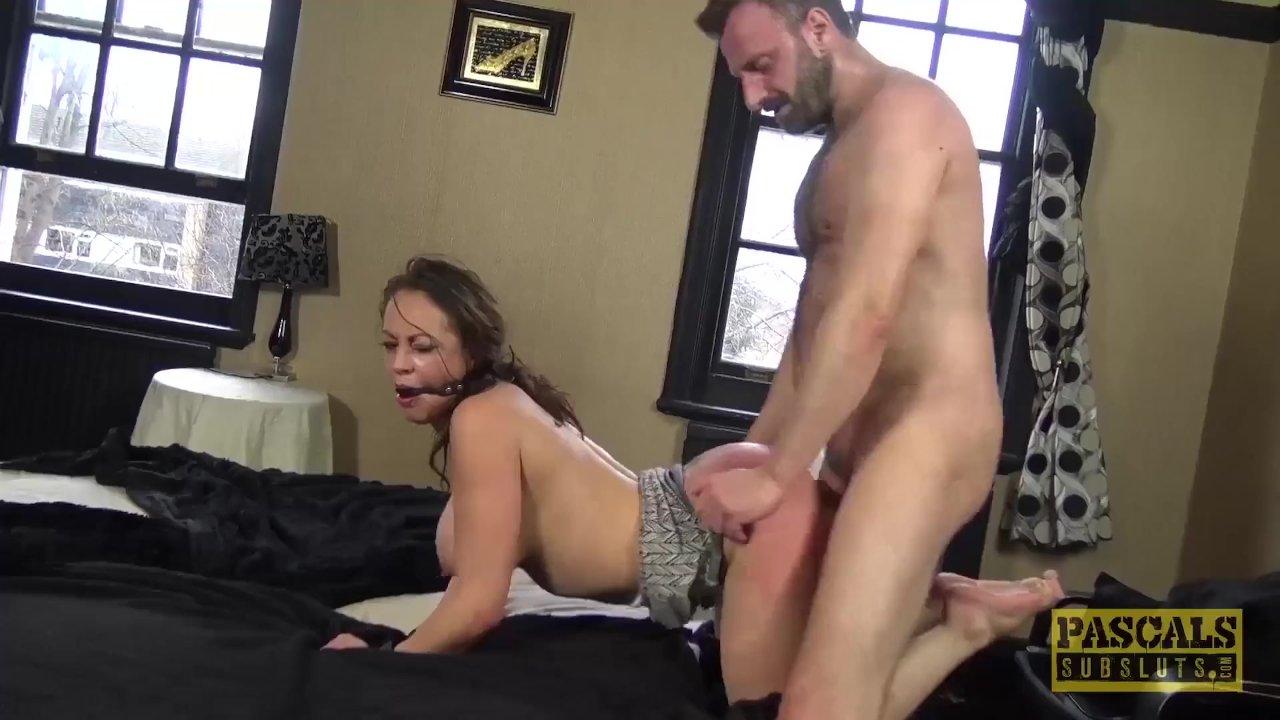 Hardfucked subslut gagged and punished
