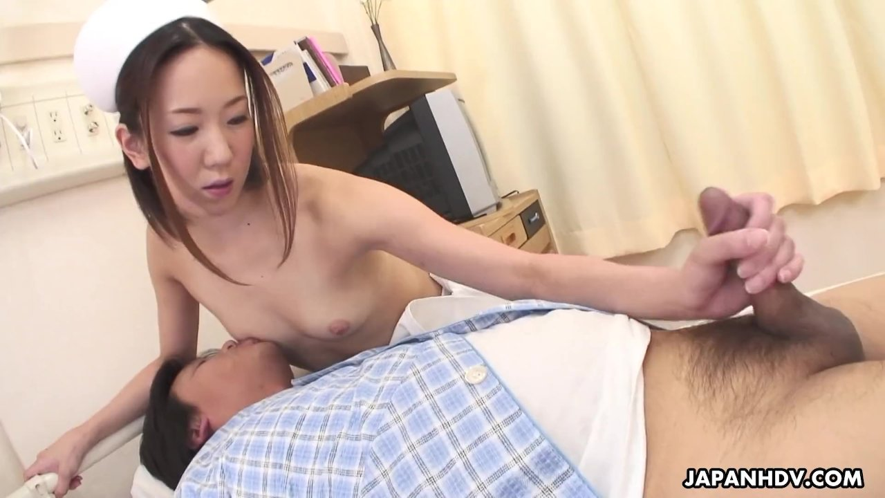 Skinny Asian nurse sucking a fat dick in a pov