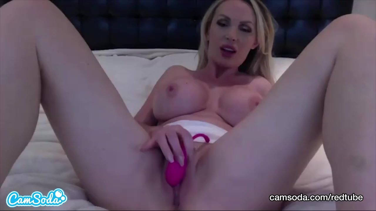 Stella Cox big tits blonde masturbating and spreading wet pussy.