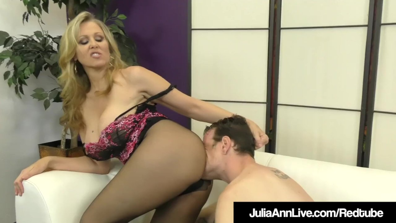 Busty Blonde Milf Julia Ann Foot Fucks A Hard Slave Cock!
