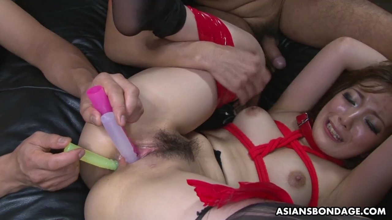 Submissive Aiko Nagai gets her ass and pussy toyed ha