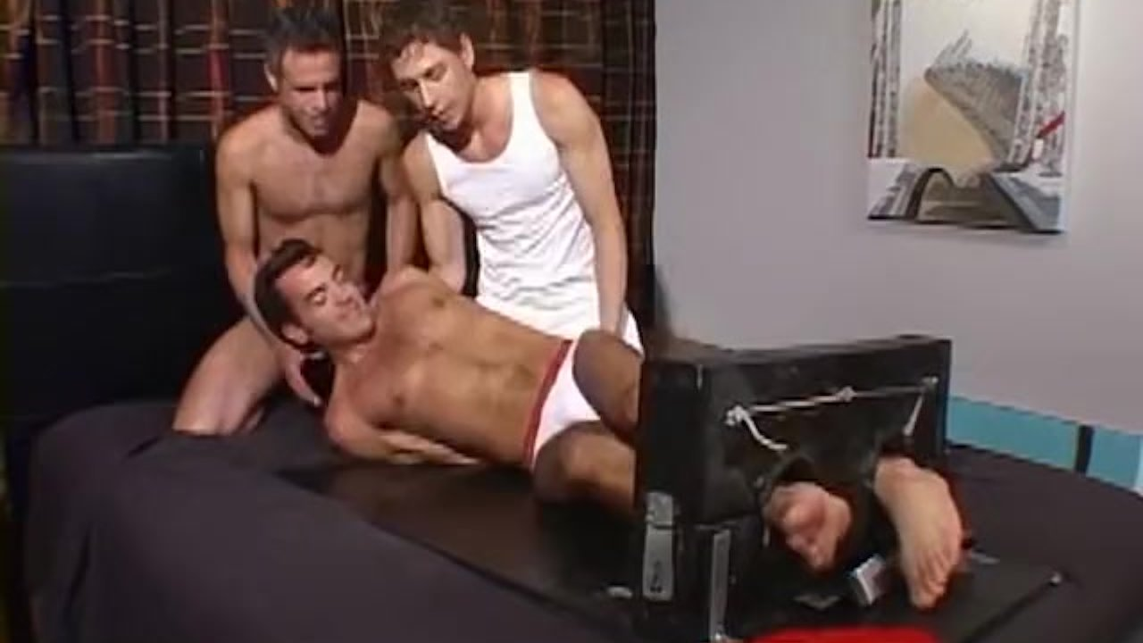 Young man bondage before tickling torment threesome
