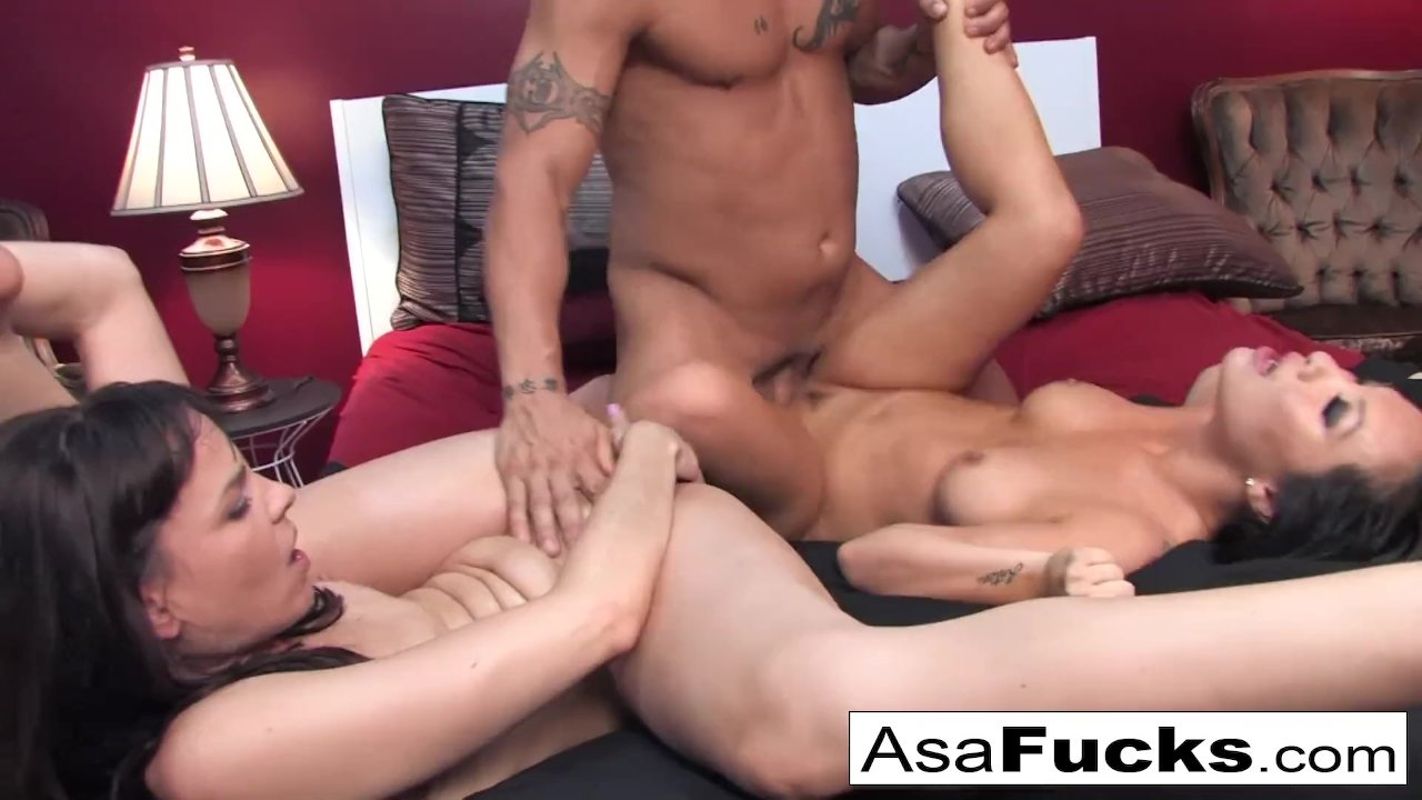Asa and Dana team up for a hot threesome with Derrick