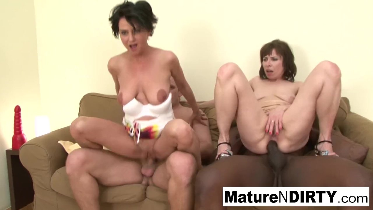 Two older ladies get double teamed by two hard cocks!