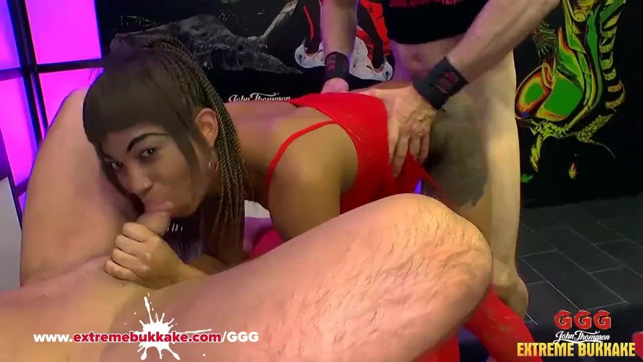 Black Babe Mimi gets her mouth full of cum - Extreme Bukkake