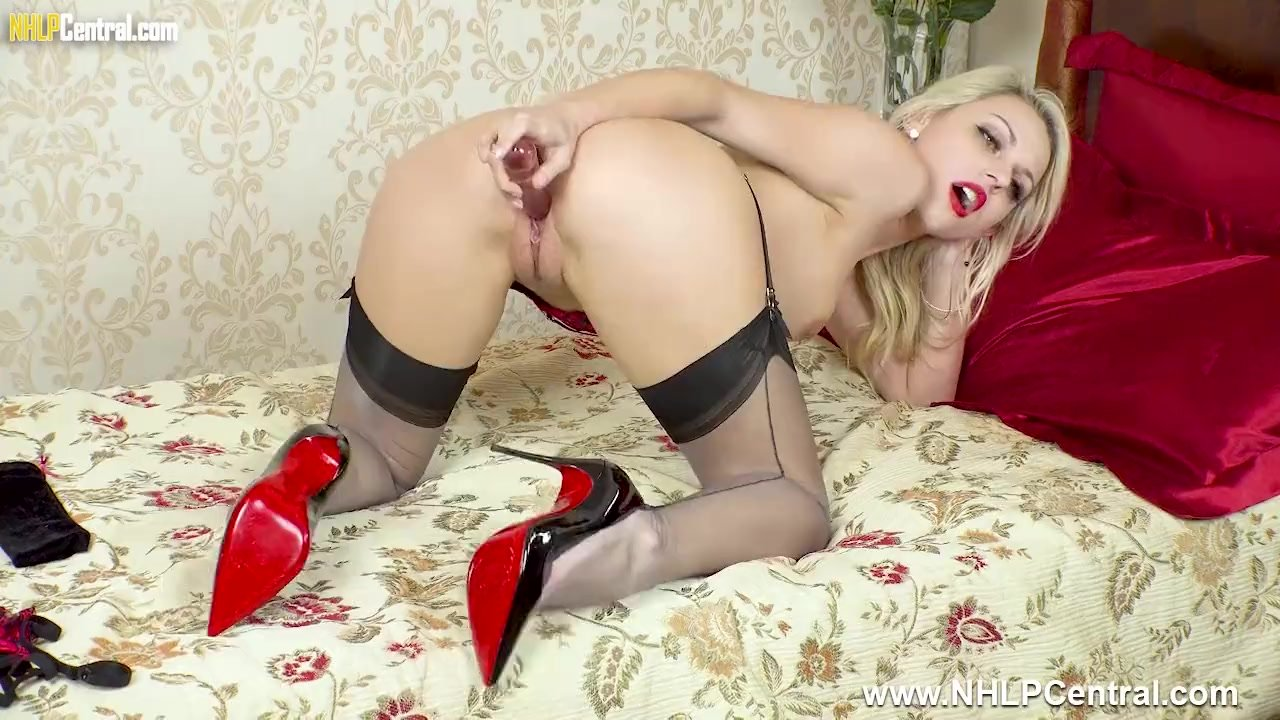 Petite babe Chloe Toy strips off lingerie toys sweet pussy in nylons heels