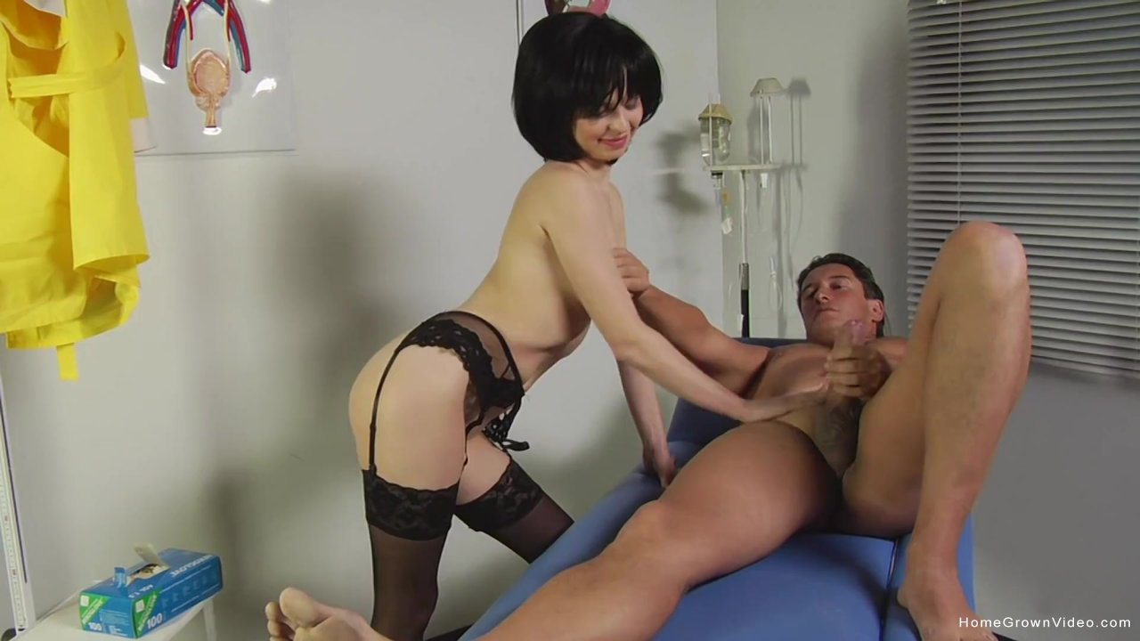 Naughty nurse sucks and fingers her patients ass