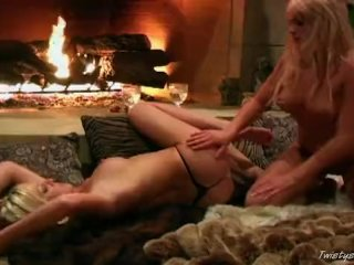 Lesbians at the fireplace
