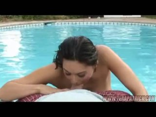 Hot babe in the pool