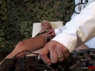 Bound girl electrocuted and banged
