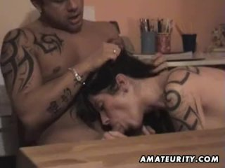 Busty amateur girlfriend fucked on a desk