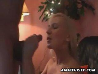 Amateur chicks shares two cocks