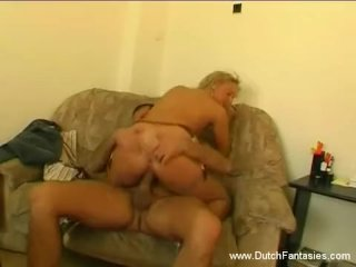 Hot sex with blonde on couch