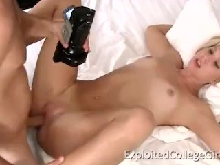 Small tits blonde coed just wants to fuck